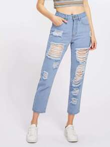 Модные джинсы с разрезами