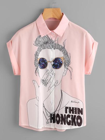 Girl Print Cuffed Chiffon Shirt