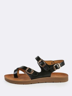 Faux Leather Buckle Wrap Sandals BLACK