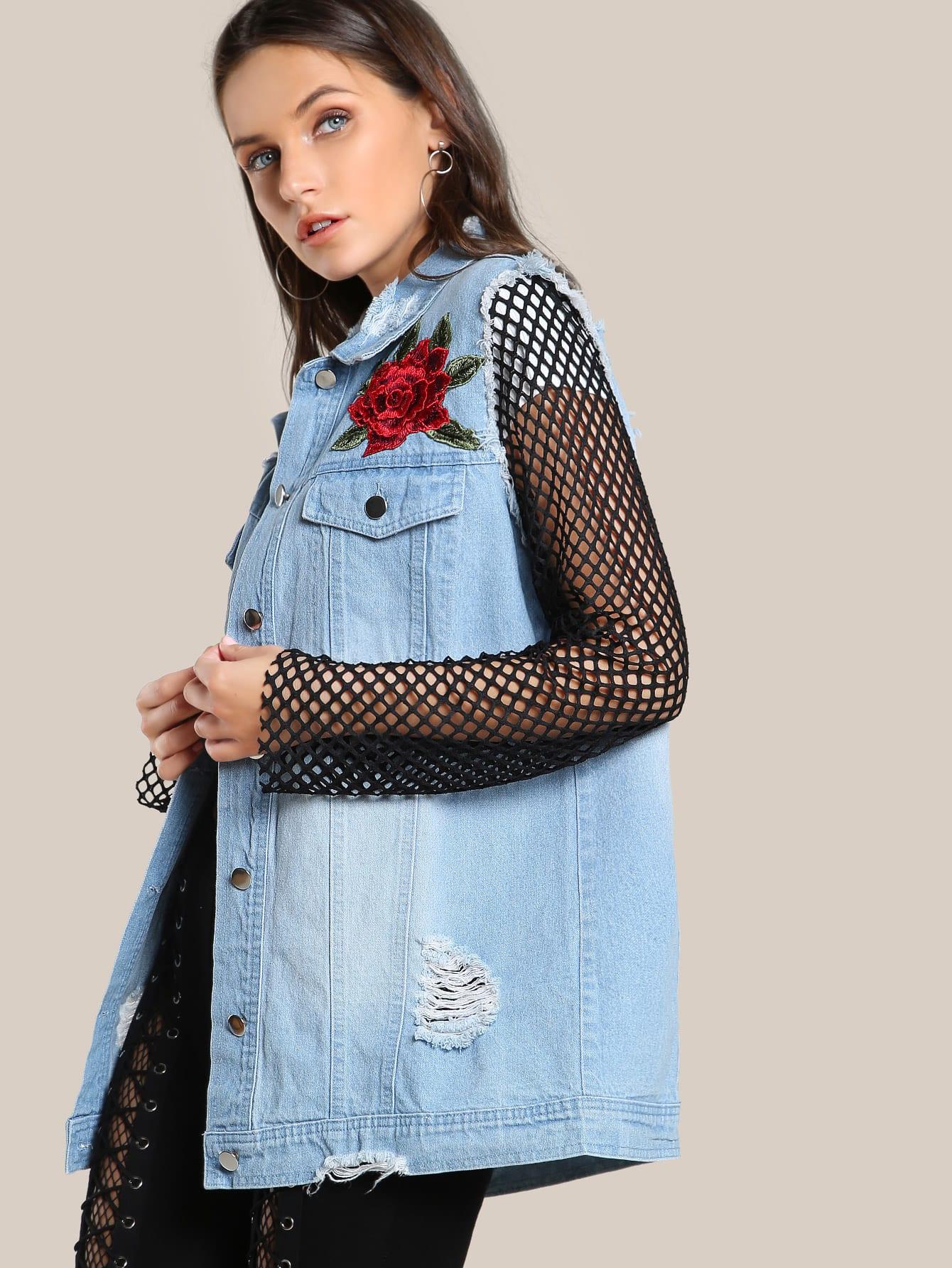 Embroidered Fishnet Sleeve Jacket LIGHT DENIM