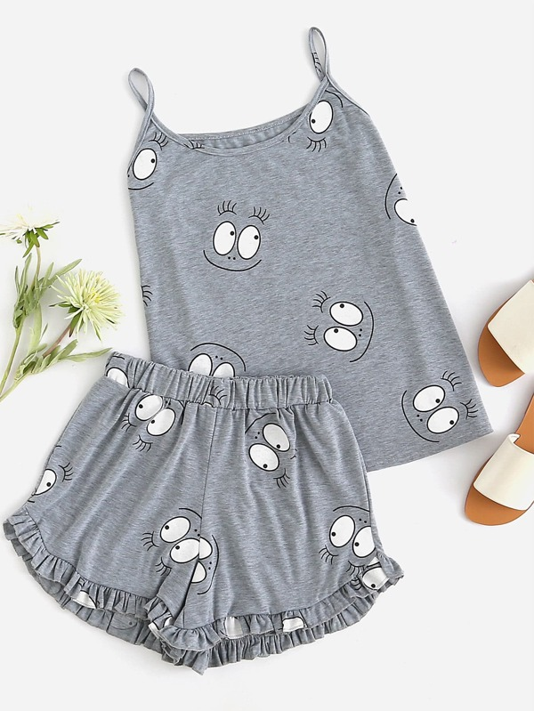 Cartoon Print Frill Trim Cami Pajama Set by Sheinside