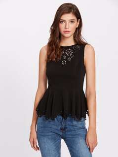 Scalloped Laser Cut Textured Peplum Shell Top