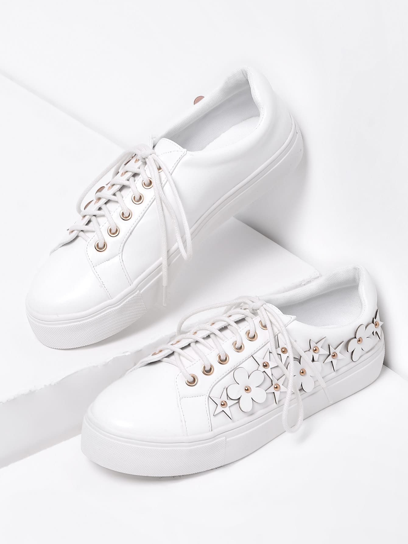 Flower Embellished Lace Up Faux Leather Sneakers exquisite candy color faux gem embellished flower pattern bracelet for women