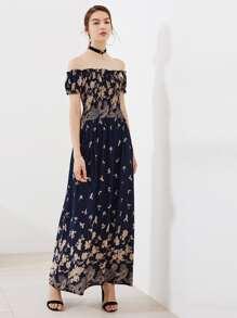 Shirred Bardot Frill Trim Allover Florals Dress