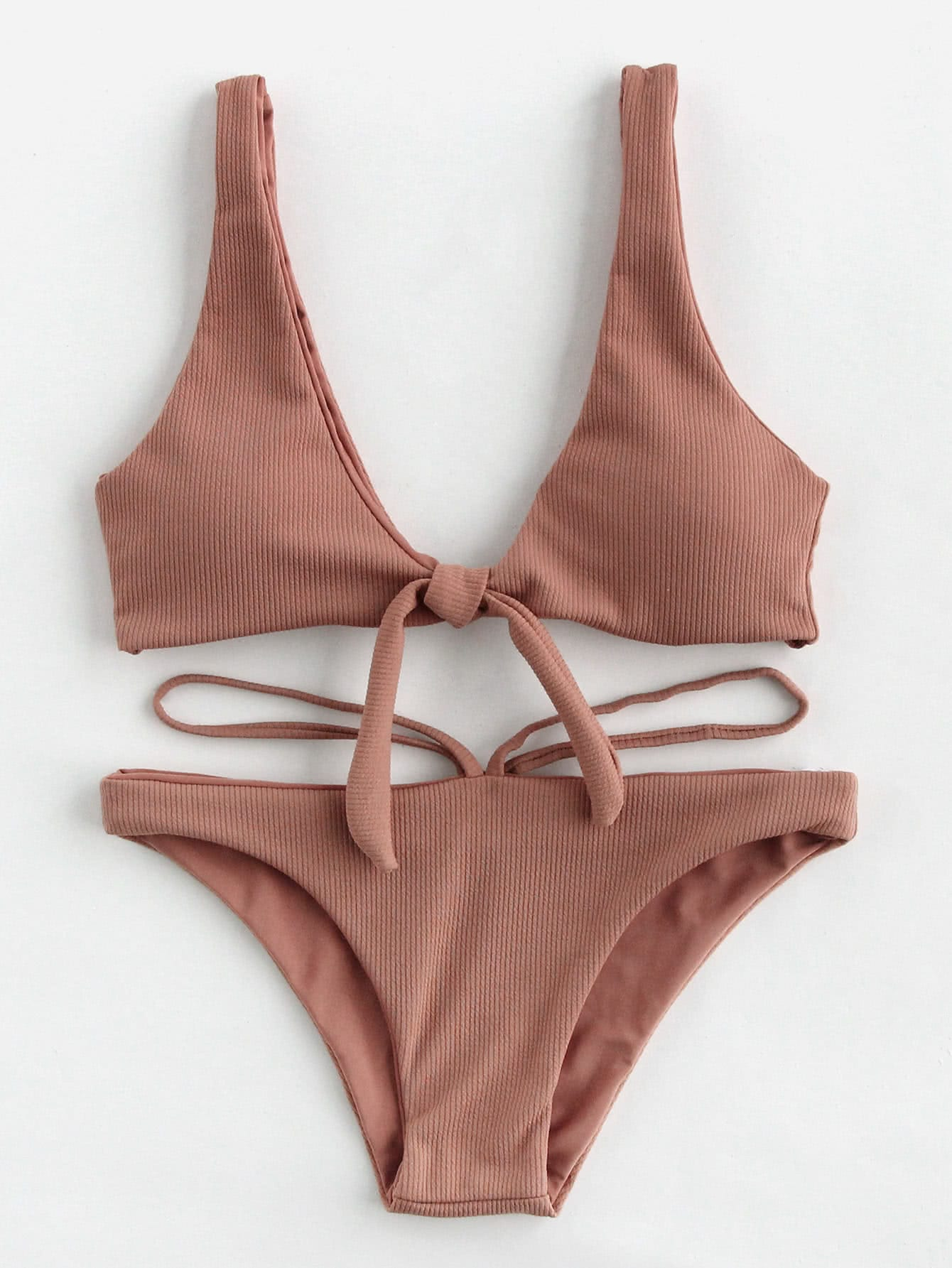 Double Deep Plunge Bow Detail Ribbed Bikini Set double strap bikini set