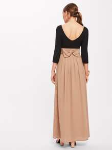 Two Tone Bow Back Ruched Waist Pleated Dress
