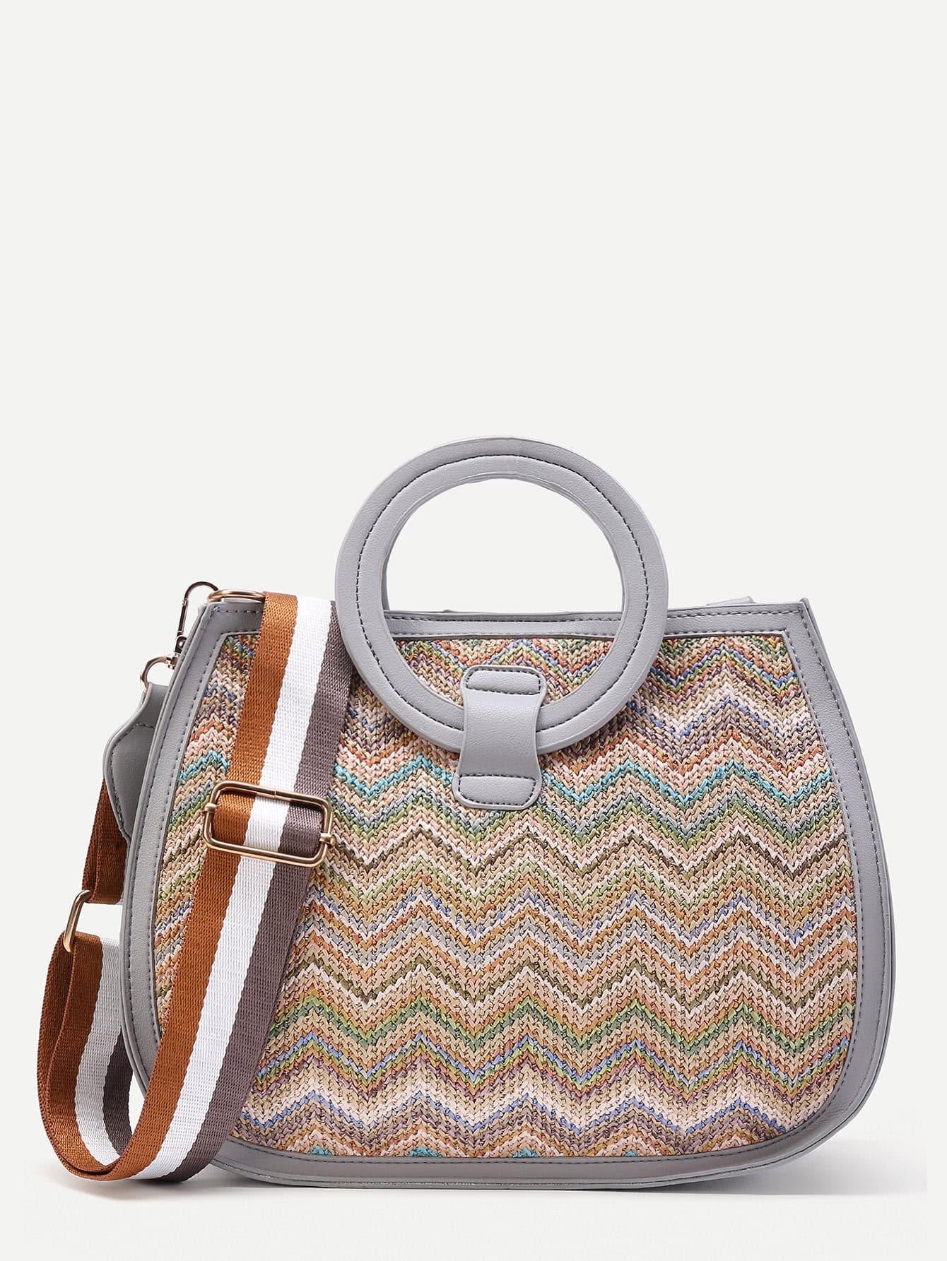 Фото Chevron Woven Shoulder Bag With Ring Handle. Купить с доставкой