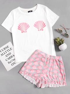 Seashell Print Top With Frill Hem Shorts