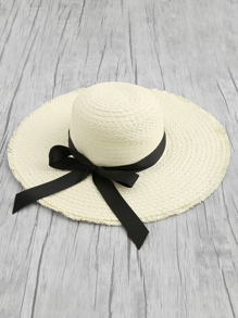 Oversized Straw Hat With Bow Band