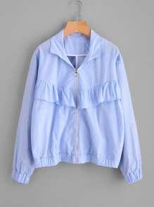 Ruffle Trim Pinstripe Jacket