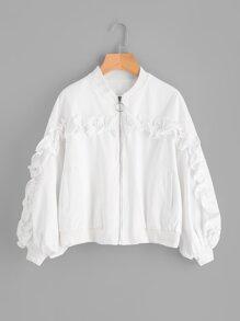 Shirred Ruffle Trim Jacket