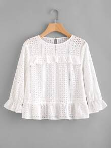 Frill Trim Eyelet Embroidered Top