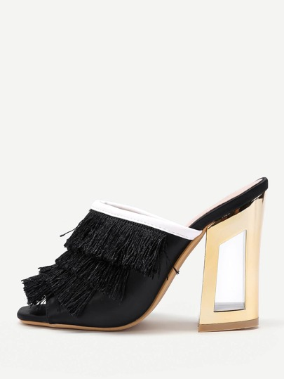 Fringe Design High Heeled Mules