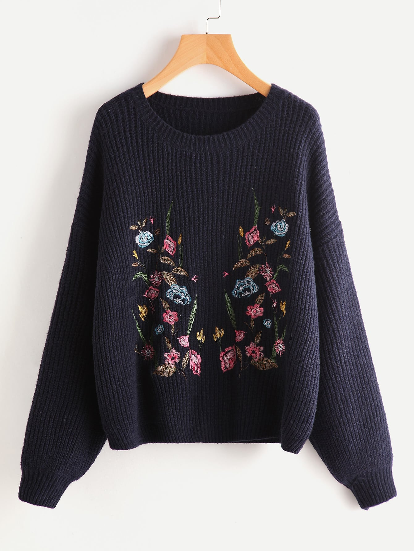 Botanical Embroidered Drop Shoulder Jumper серьги