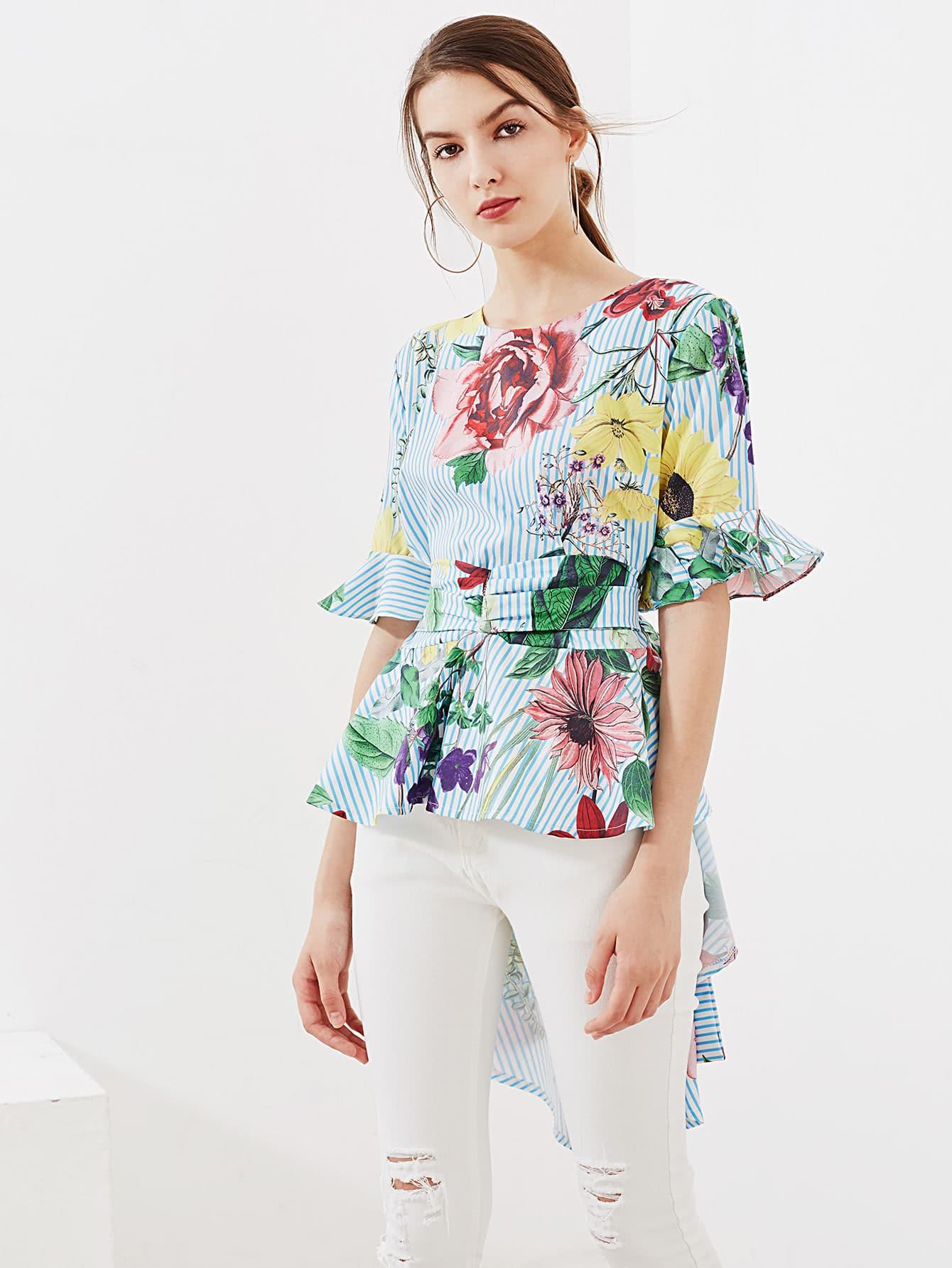 Random Tropical Print Tie Back Frill Blouse crisscross surplice neckline tie detail tropical print blouse