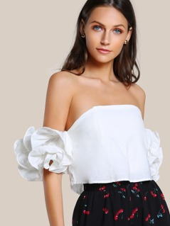 Lettuce Edge Ruffle Sleeve Bardot Top