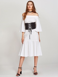 Kimono Sleeve Tiered Bardot Dress With Corset Belt