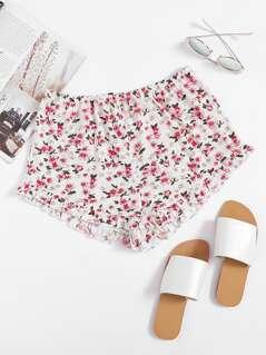 Frilled Hem Ditsy Shorts