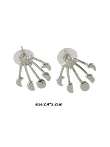 Moon and Round Silver Color Ear Jacket