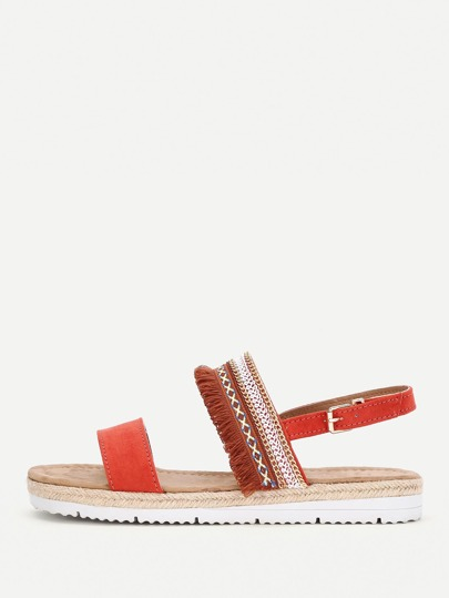 Strappy Woven Flat Sandals