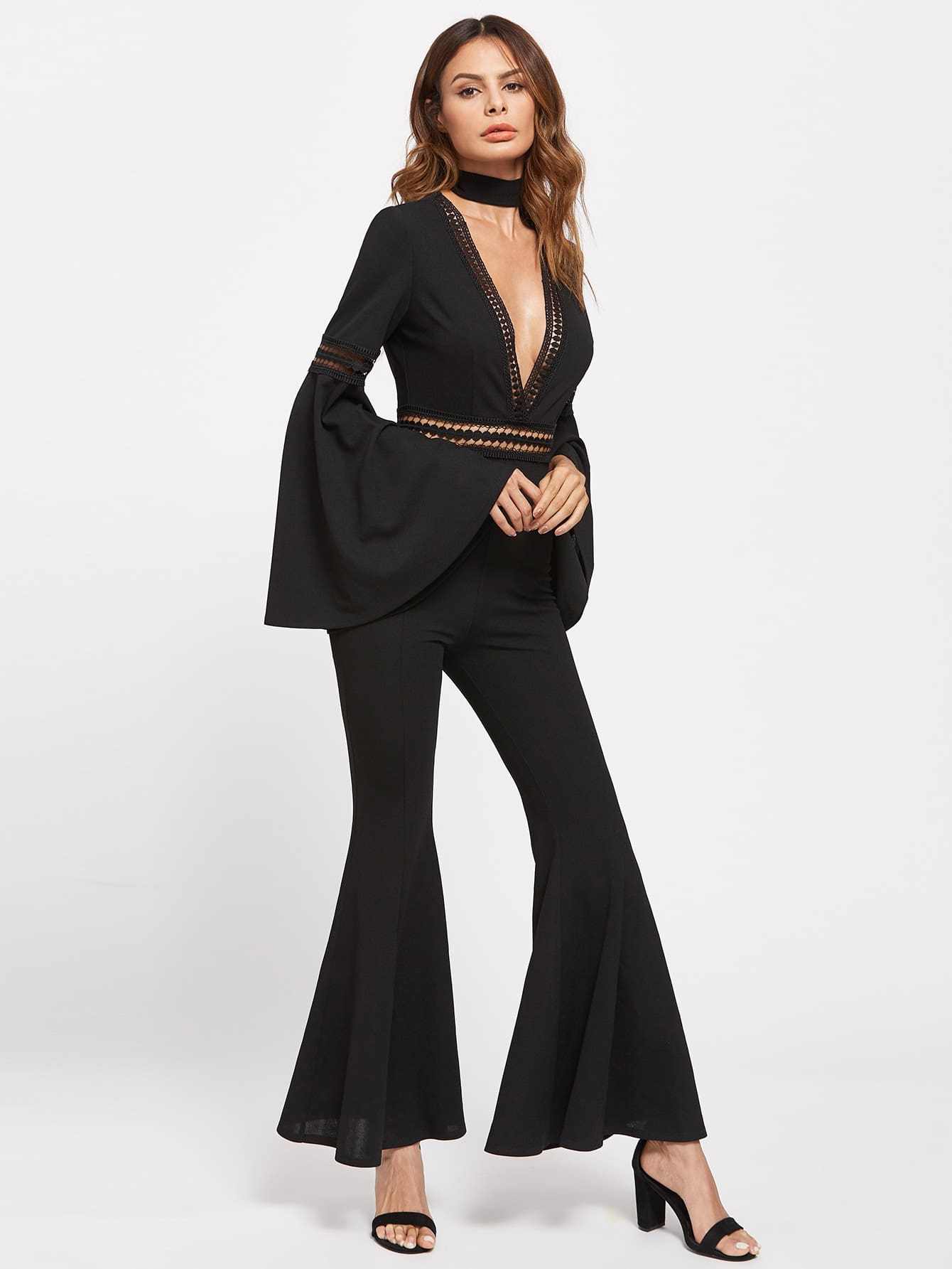 Lace Insert Exaggerate Bell Sleeve Flared Jumpsuit