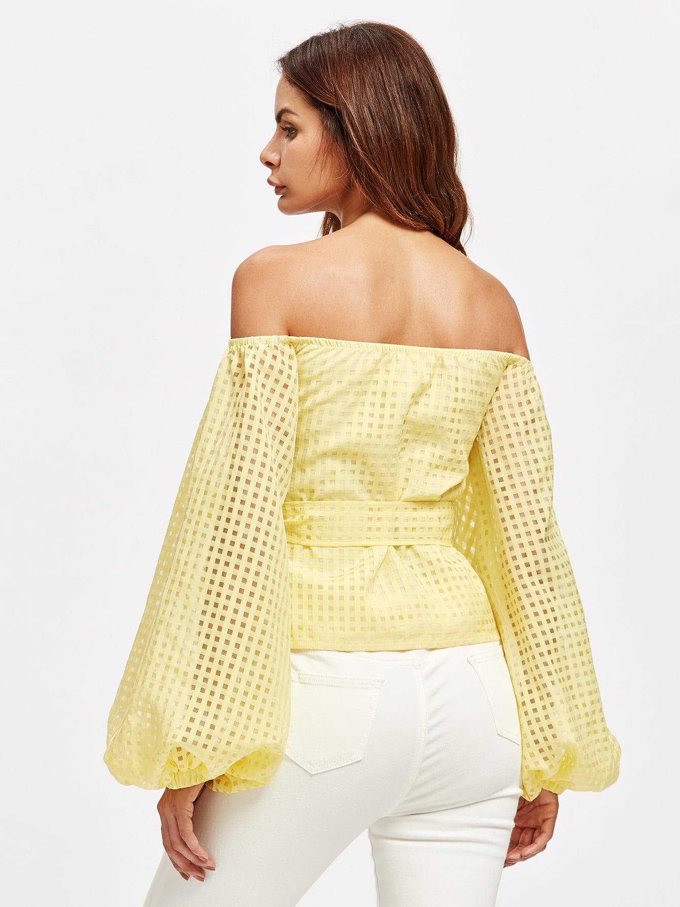 Bow Off Shoulder Lantern Sleeve Belted Checkered Mesh Top