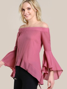 Exaggerated Trumpet Sleeve Self Tie Overlap Back Top