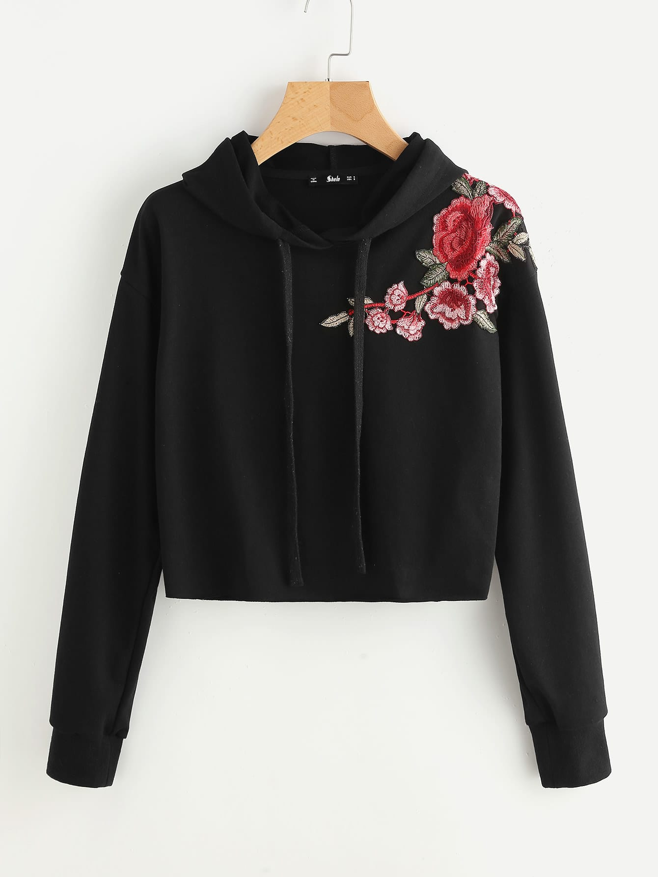 Embroidered Flower Patch Raw Hem Hoodie ботинки дерби clarks stafford park5
