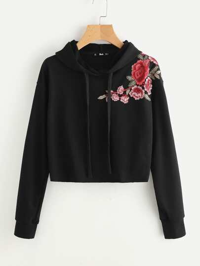 Embroidered Flower Patch Raw Hem Hoodie
