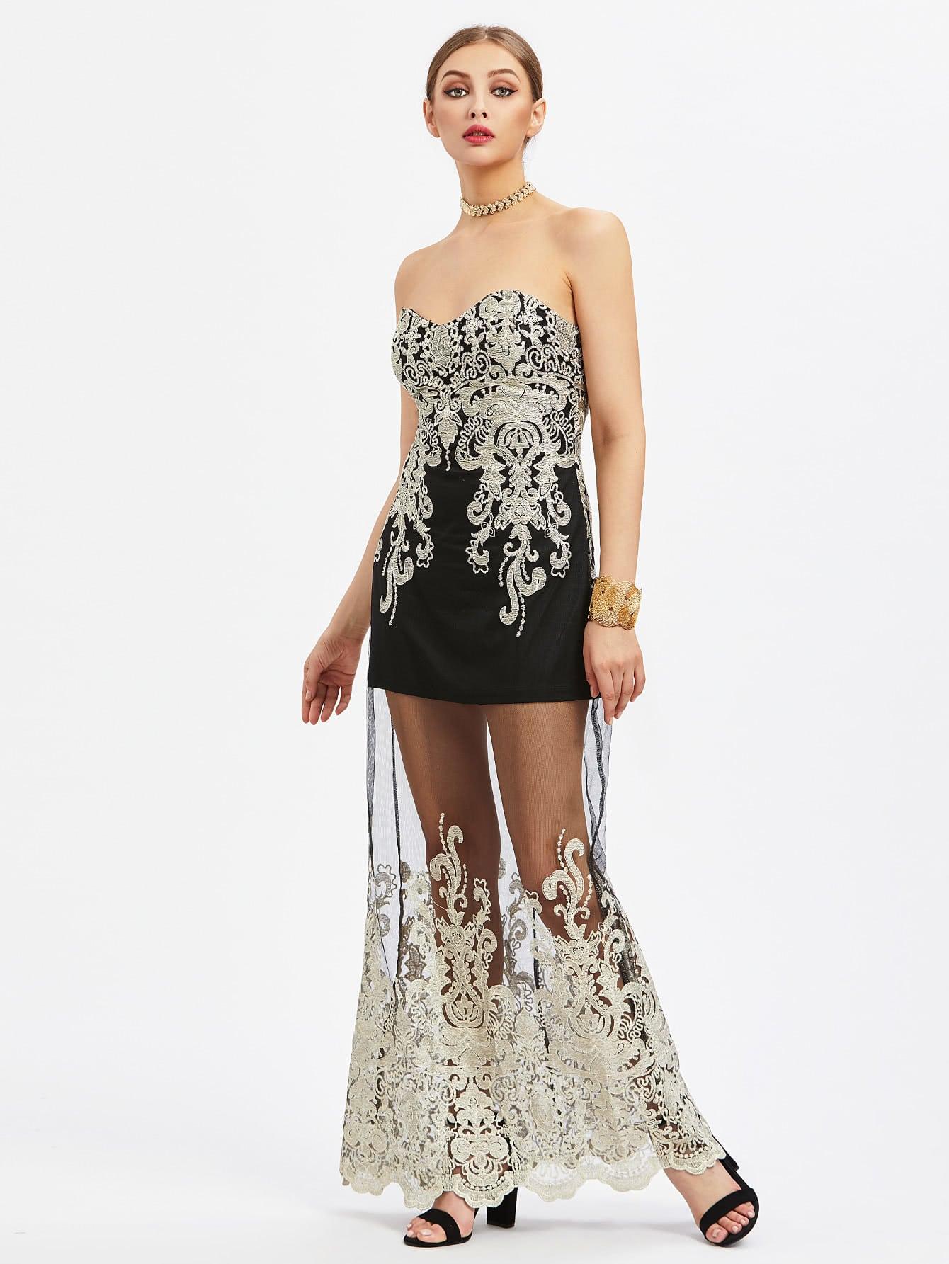 Фото Embroidered Mesh Overlay Bandeau Dress. Купить с доставкой