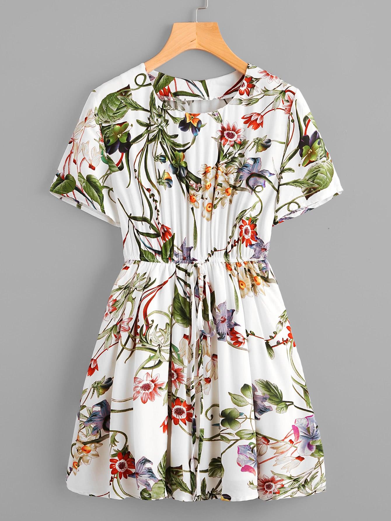 Фото All Over Foliage Print Drawstring Swing Dress. Купить с доставкой