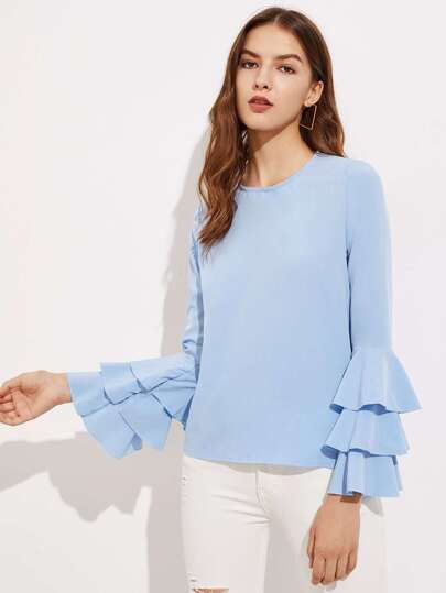 Tiered Fluted Sleeve Keyhole Back Blouse