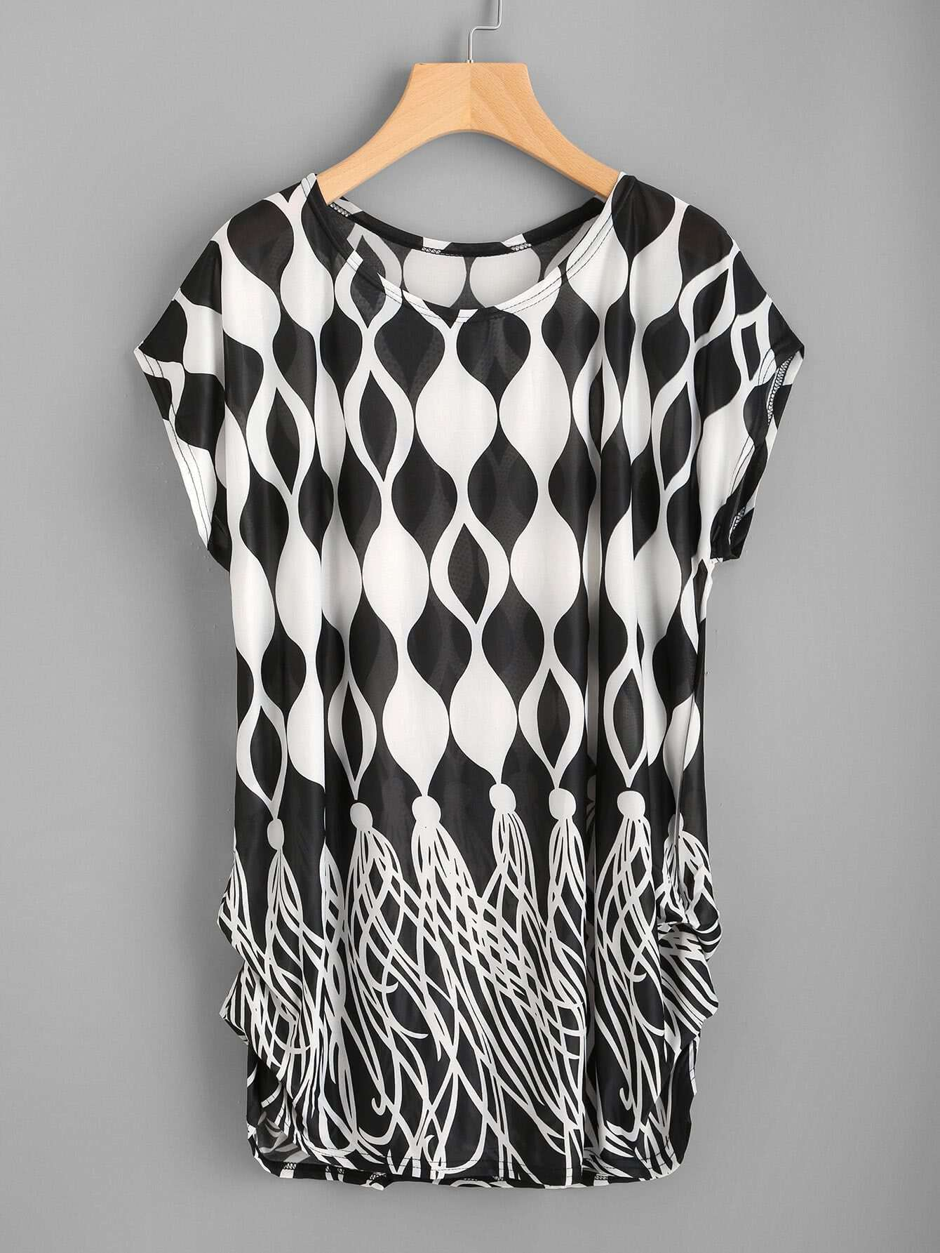 Фото Dolman Sleeve Shirred Side Abstract Print Tee. Купить с доставкой