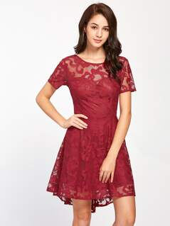 V Back Lace Overlap Dip Hem Dress