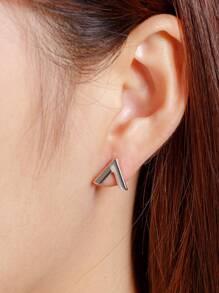 Letter V Design Stud Earrings