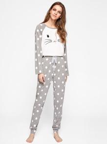 Polka Dot Raglan Sleeve Graphic Tee And Pants Pajama Set