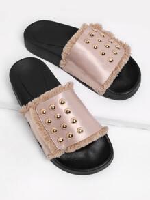 Studded Raw Trim Slip On Sandals