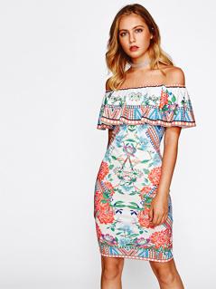Mixed Print Flounce Off Shoulder Dress