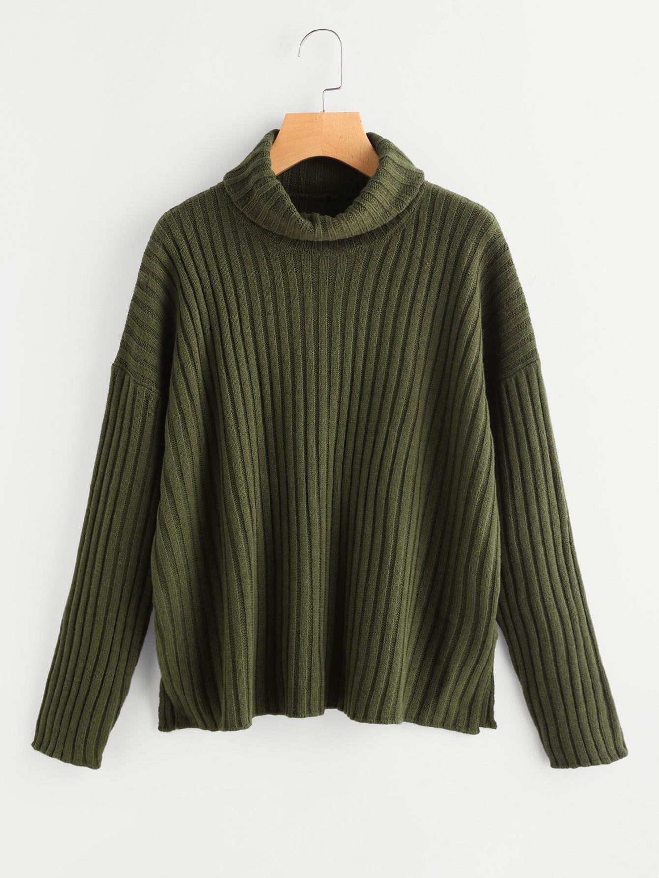 Roll Neck Drop Shoulder Rib Knit Jumper sweater170706461