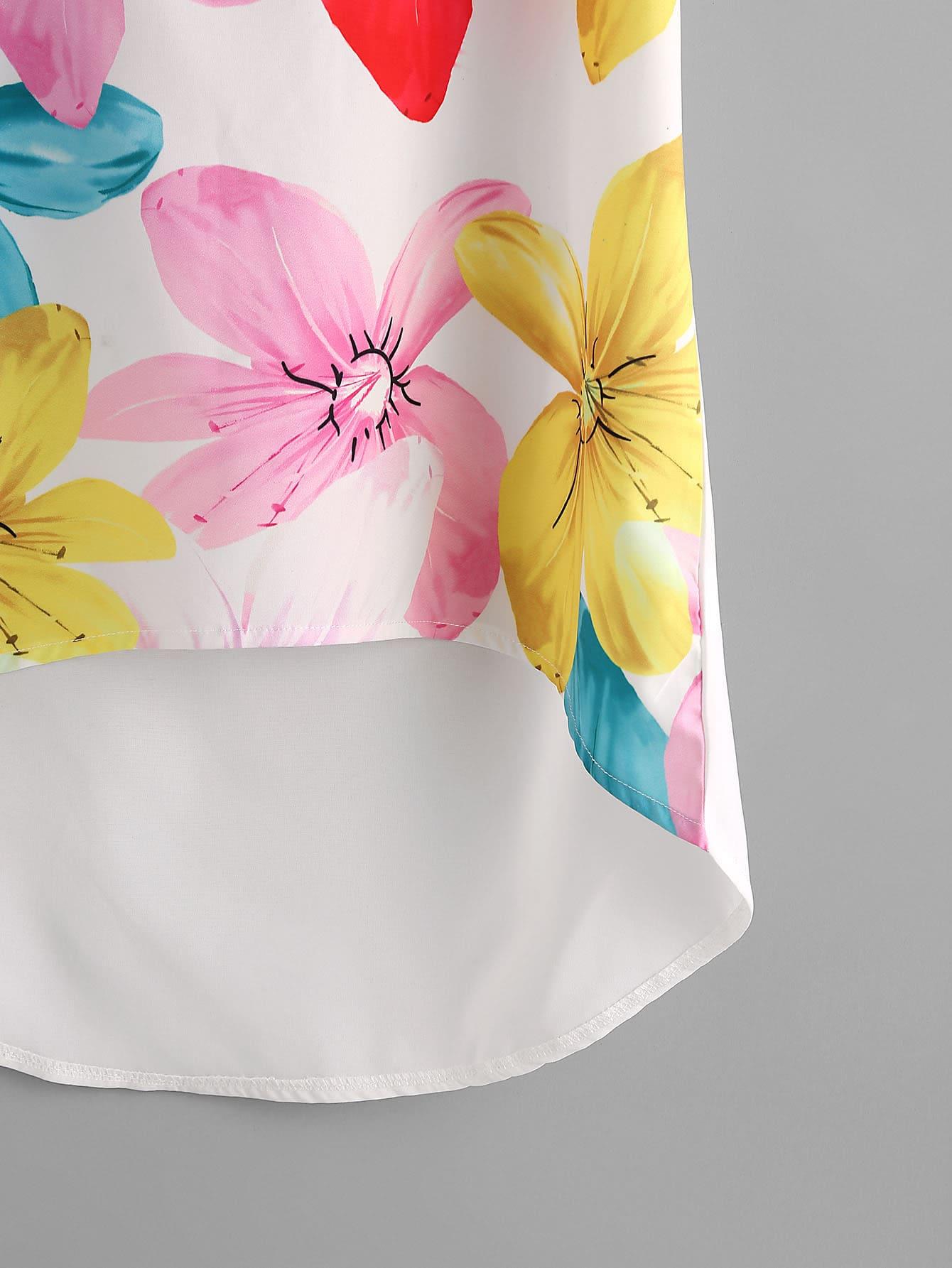 Dolman Sleeve Dip Hem Florals Chiffon Blouse