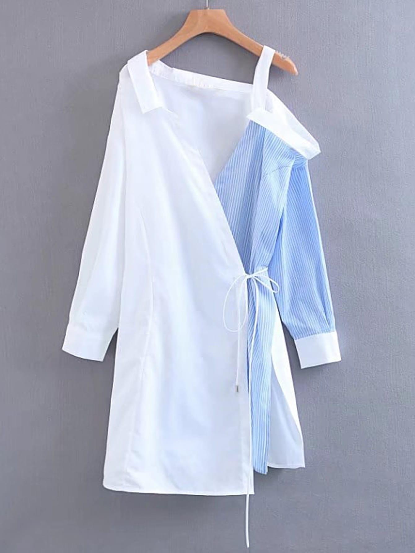 Фото Contrast Cold Shoulder Shirt Dress. Купить с доставкой