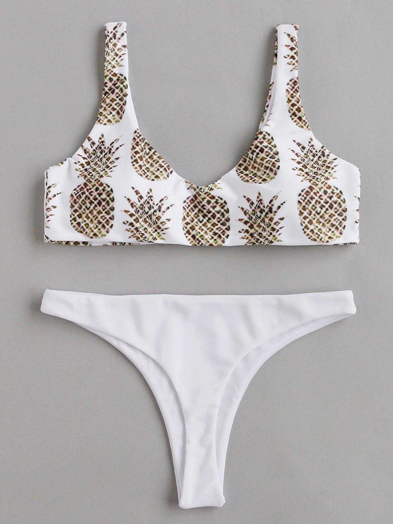 Random Pineapple Print Beach Bikini Set