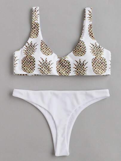 Pineapple Print Beach Bikini Set