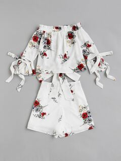 Bow Tie Detail Bardot Top And Wrap Shorts Co-Ord