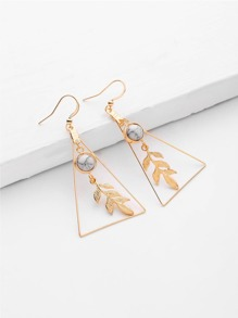 Leaf & Triangle Design Drop Earrings With Marble