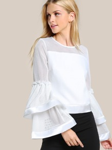 Satin Trim Mesh Cut Out Layered Trumpet Sleeve Top
