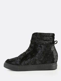 Velvet Lace Up High Top Sneakers BLACK