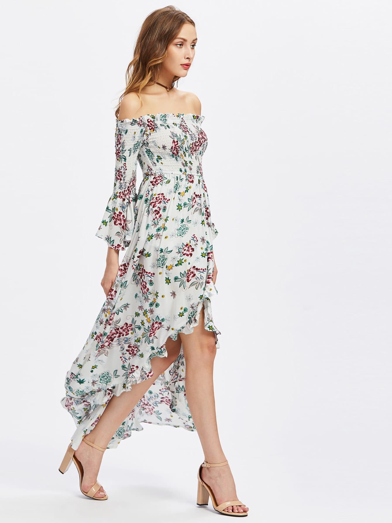 Фото Smocked Bodice Trumpet Sleeve Overlap Bardot Dress. Купить с доставкой