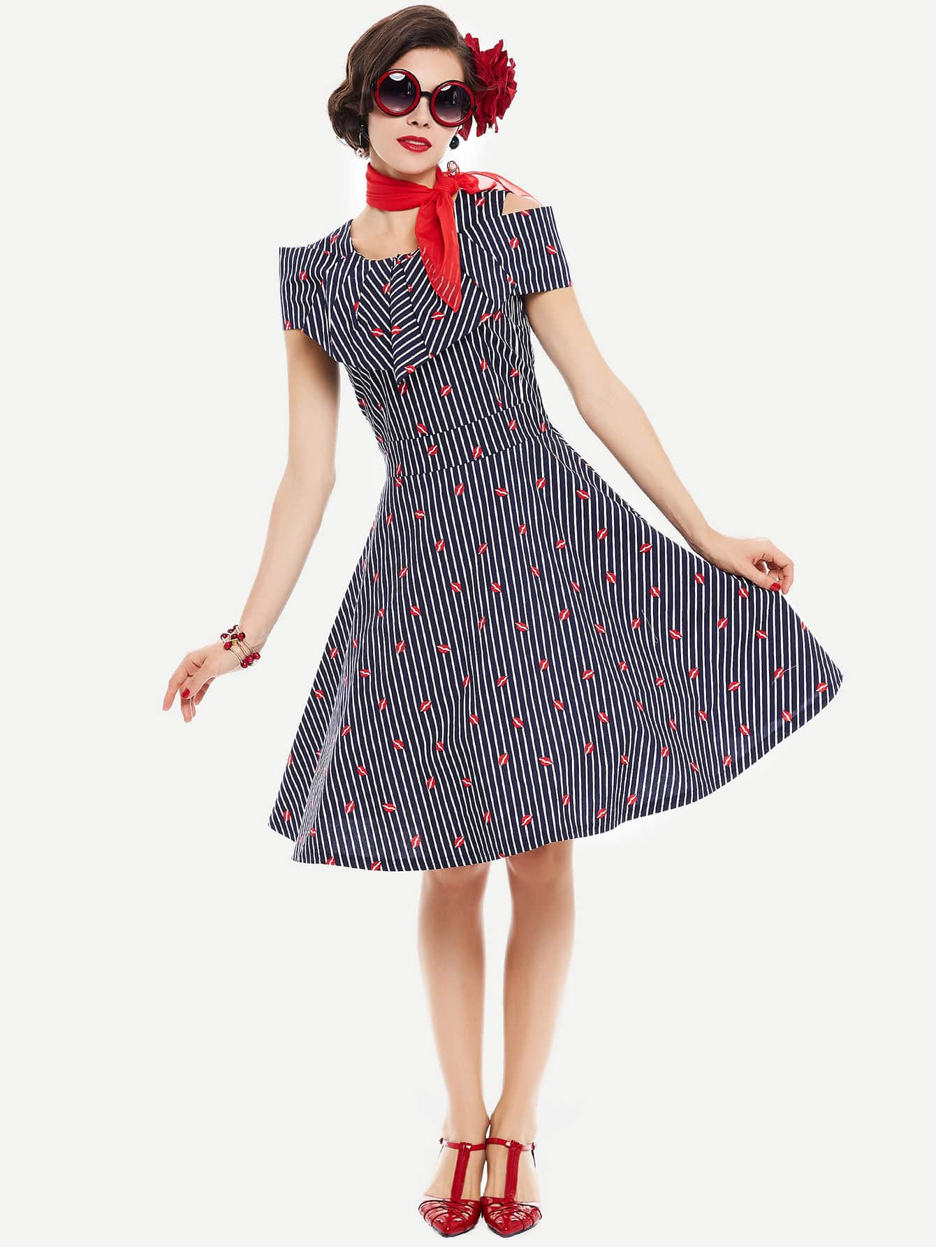 Фото Frill Layered Lip Print Striped Circle Dress. Купить с доставкой