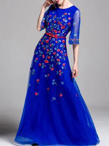 Flowers Embroidered Belted Maxi Dress